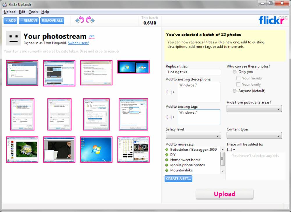 OBLIGATORISK: Flickrs eget opplastingsprogram bør være obligatorisk for alle Flickr-brukere. Men vær obs på andre alternativer.