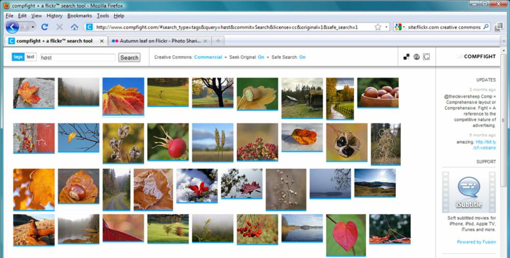 BEST PÅ SØK: Flickrs egen søkefunksjon har riktignok blitt bedre med tiden, men den aller beste søkefunksjonen for Flickr-bilder finner du på www.compfight.com