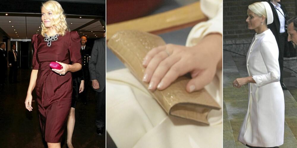 PRADA OG VALENTINO: Mette-Marit i Prada-kjole til kr 40.000 under Nobelkonserten. Tidligere på dagen bar hun på en clutchveske fra Prada til kr 10.000. Valentino-drakten er formodentlig sydd til kronprinsessen, og slike plagg koster minimum kr 200.000.