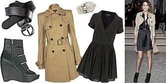 FRA VENSTRE: Sko med kilehæl fra Din Sko (kr 499), belte fra H&M (kr 79,50), trenchcoat fra Topshop (kr 885), ring fra Kum Kum (kr 1249), kjole fra Warehouse (kr 419).