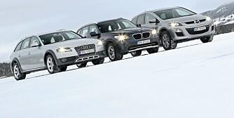 Dagali 09122009 SML Audi A4 Allroad BMW X1s Mazda CX-7 på snø