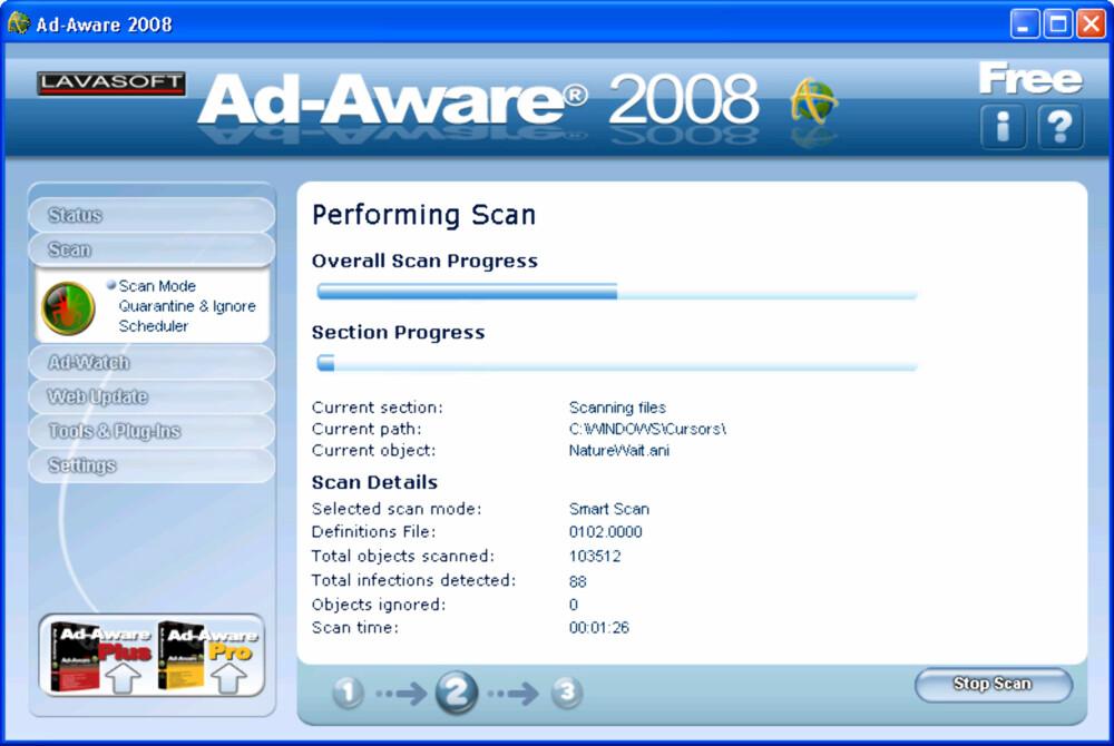RASKT: Ad-Aware er et raskt og oversiktlig program som absolutt kan anbefales.
