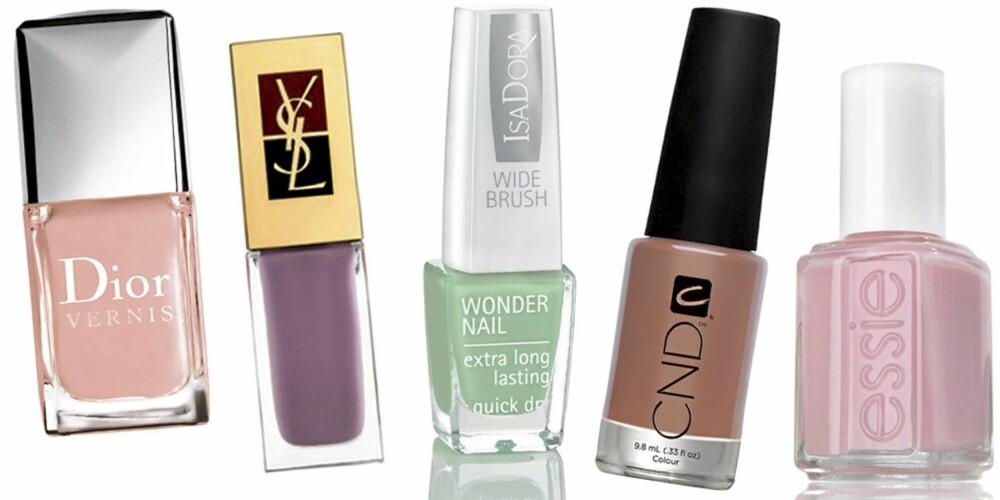 FRA VENSTRE: Dior Vernis nr. 184 Pink Ballet (kr 200), YSL La Laque nr. 143 (kr 190), IsaDora Wonder Nail nr. 619 Vintage Mint (kr 79), CND Desert Suede (kr 159), Essie Pop Art Pink (kr 119).