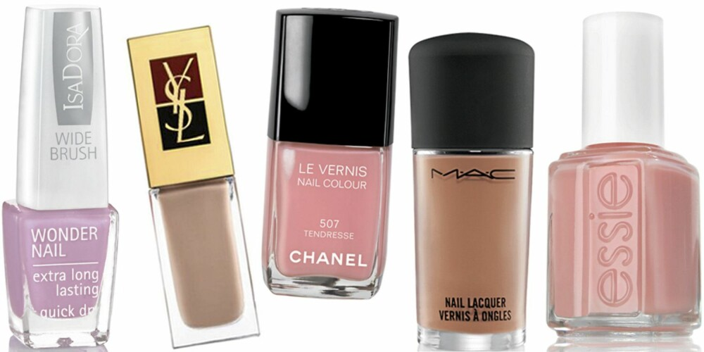 FRA VENSTRE: IsaDora Wonder Nail Bardot Pink (kr 79), YSL La Laque nr. 41 (kr 190), Chanel Le Vernis Tendresse (kr 210), MAC Abalone Shell (kr 120), Essie Van D'Go (kr 119).