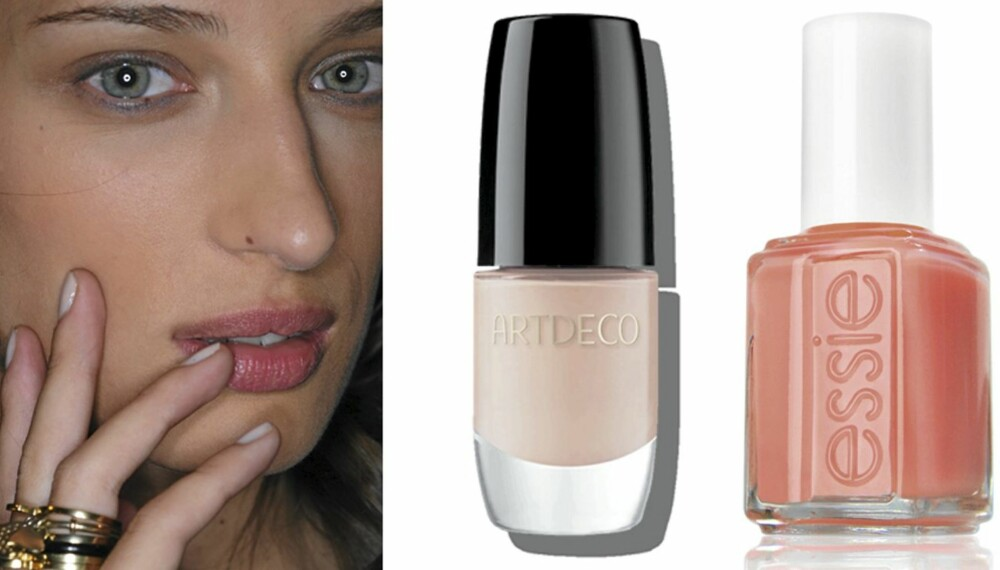 VÅRTREND: I vår og sommer er det duse farger som gjelder. Art Deco nr. 189 Clear Gypsum (kr 99) og Essie Tart Deco (kr 119).