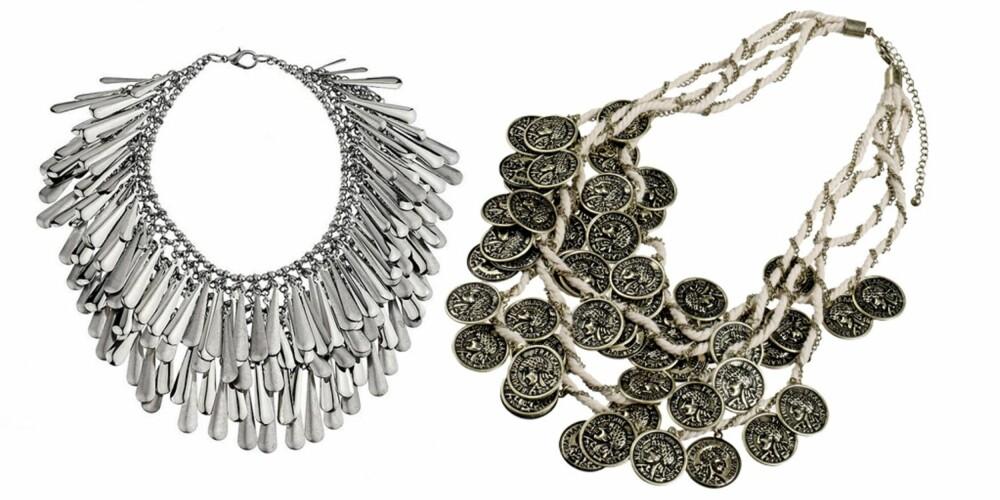 FRA VENSTRE: Lekkert sølvfarget smykke fra Topshop, kr 429. Spennende smykke fra Gina Tricot, kr 199.