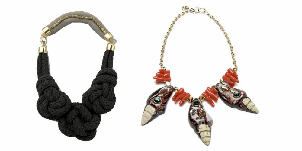 FRA VENSTRE: MOrsomt knutesmykke fra Lizzie Fortuna Jewels/Shopbob.com, kr 2419. Fargerikt skjellsmykke fra Mango, kr 449.