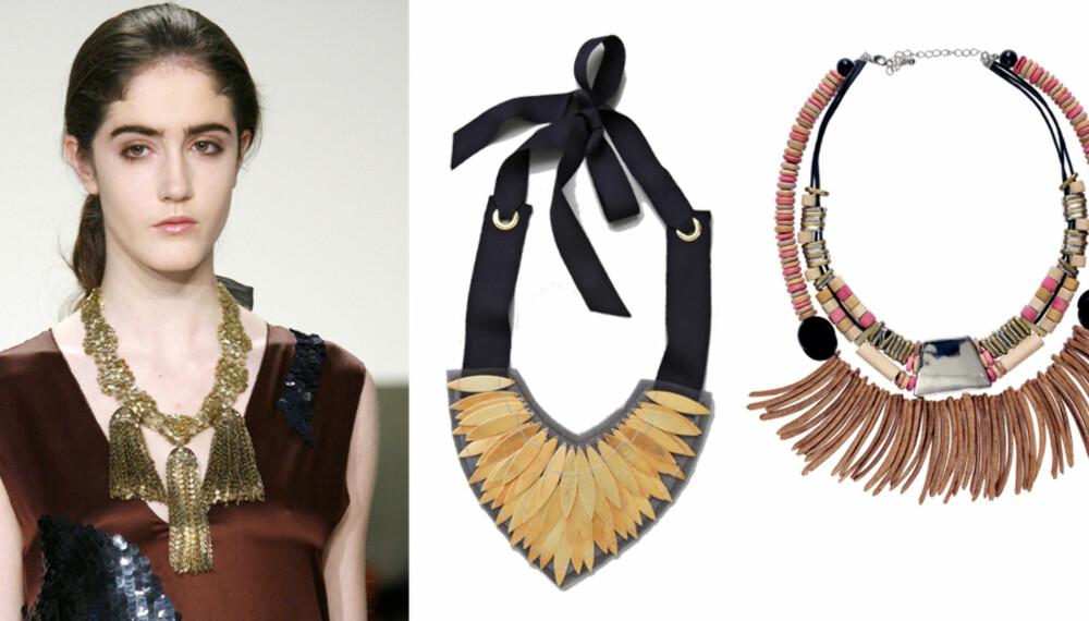 SMYKKETREND: Store smykker på catwalken under Vera Wangs visning. Til venstre: Smykke fra Lizzie Fortuna Jewels/Shopbob.com, kr 2500. Fargerikt og spennende kjede fra H&M, kr 199.
