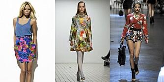BLOMSTER: Designerne viser sine blomstrende kolleksjoner. Fra venstre: H&M Garden Collection, Erdem og Dolce og Gabbana.