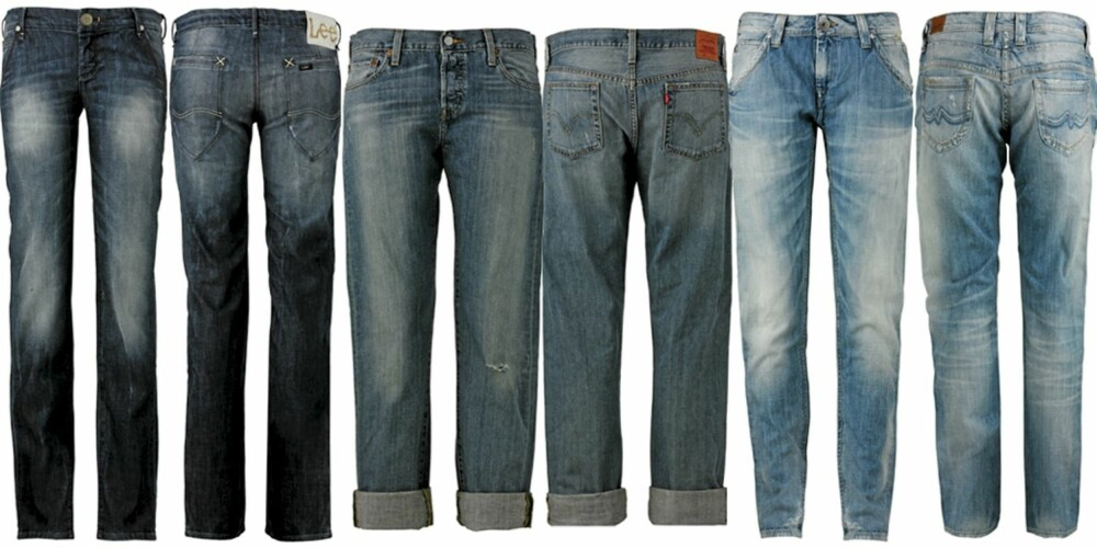 FRA VENSTRE: Lee (kr 999), Levi's (kr 899), Pepe Jeans (kr 1199).