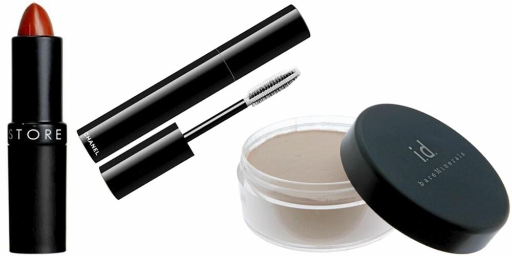 FRA VENSTRE: Makeupstore China Red leppestift (kr 165), Chanel Visuel N°1 Mascara (kr 290), i.d. Bare Minerals Mineral Veil pudder (kr 429).