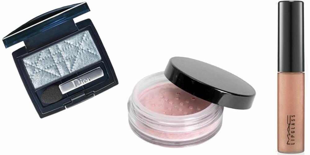 FRA VENSTRE: Dior 1 Couleur Eyeshadow (kr 245), Makeupstore Wonderblush i fargen Goddess (kr 185), MAC Lipgloss i fargenFeeling Dreamy Pale (kr 145).