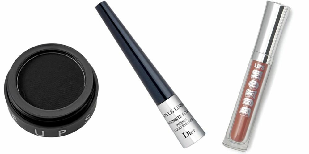 FRA VENSTRE: Makeupstore Cake Eyeline (kr 145), Dior Style Liner våt eyeliner (kr 275), Bare Minerals Buxom Lips i fargen Bambi (kr 299).