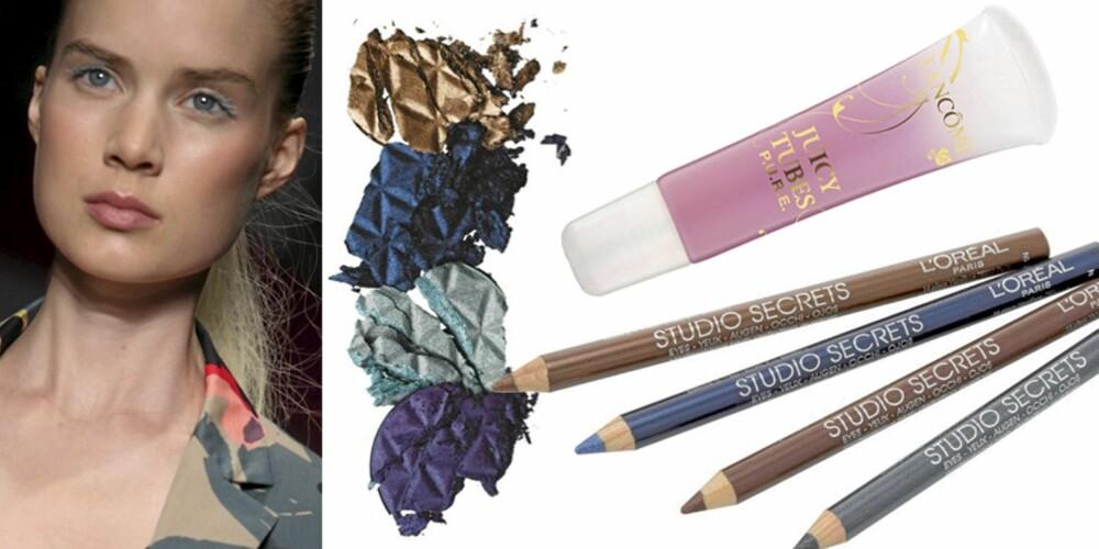 FRA VENSTRE: På catwalken til DKNY, L'Oréal Studio Secret Eyeshadow (kr 11), L'Oréal Studio Secret High-Definition Eyeliner (kr 109), Lancôme Juicy Tubes (kr 150).