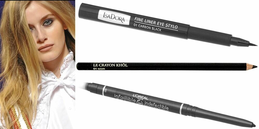 FRA VENSTRE: Fra catwalken til Paul & Joe, Isadora Fine Liner Eye Stylo 01 Carbon Black (kr 99), Lancôme Le Crayon Khol 001 Black (kr 155), L'Oréal Infailible Style Eyeliner (kr 105).
