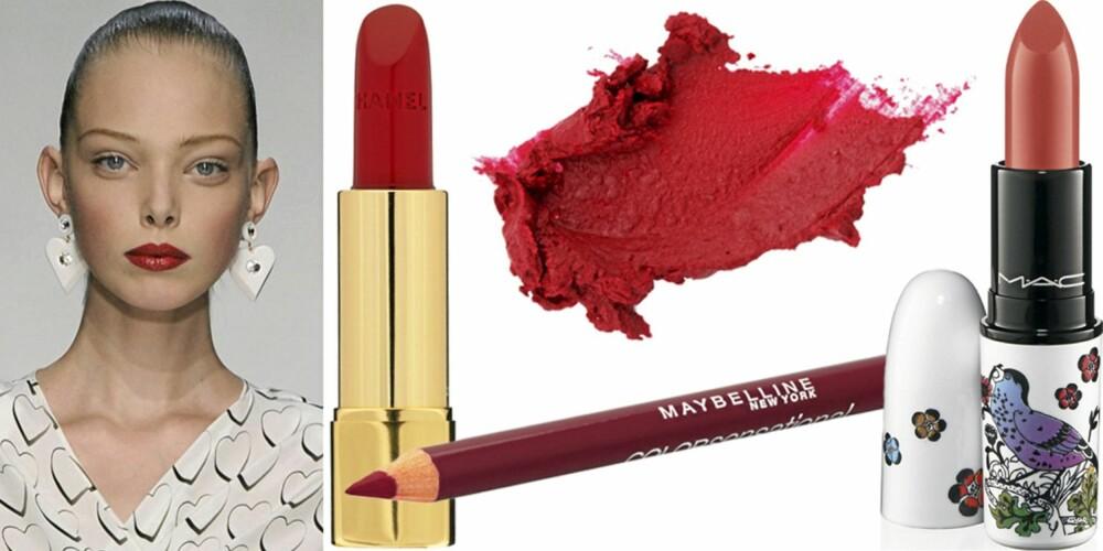 FRA VENSTRE: På catwalken til Ungaro, Chanel Rouge Allure Lipstick (kr 300), Maybelline Lipliner (kr 120), YSL Rouge Voluptè nr. 18 Red Taboo (kr 255), Mac Lipstick Give Me Liberty (kr 165).