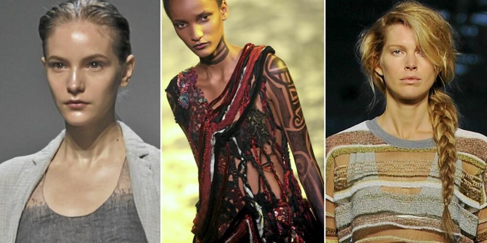 FRA VENSTRE: Blank hud hos Calvin Klein, tatoveringer hos Rodarte og lang flette hos ALexander Wang.
