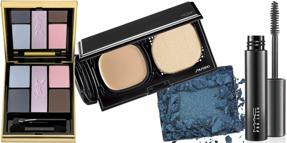 FRA VENSTRE: Yves Saint Laurent Ombres 5 Lumières 09 (kr 465), Shiseido Advanced Hydra-liquid Compact Foundation (kr 350), Laura Mercier Luster Eye Colour i fargen Celestial (kr 235), MAC Pro Lash Mascara (kr 135).