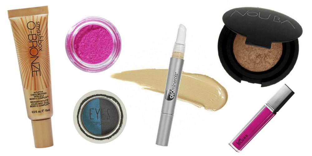 FRA VENSTRE: Smashbox O-Bronze Cheek Bronzer (kr 265), Barry M Dazzle Dust Eyeshadow i fargen Neon Pink (kr 125), Topshop Eyeshadow Duo i fargen Jackdaw (kr 57), GloMinerals Brightener Concealer (kr 275), Nouba Blush On Bubble Powder (kr 290), H&M Lipgloss (kr 59,50).