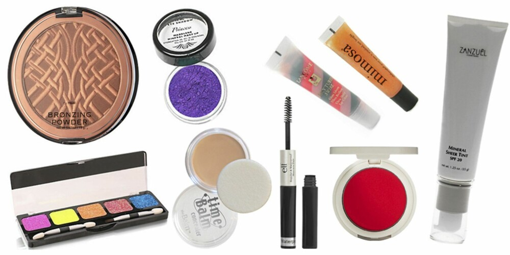 FRA VENSTRE: H&M Bronze Powder (kr 59,50), NYX Eyeshadow (kr 139), Mayana Corigan Eyeshadow (kr 125), Time Balm Concealer(kr 187), Lancôme Juicy Tubes Swirl (kr 155), ELF Mascara (kr 16), Philosophy Mimisa Flavoured Lipshine (kr 115), Topshop Blush i fargen Pinch (kr 57), Zanzuel Mineral Sheer Tint Foundation (kr 330).