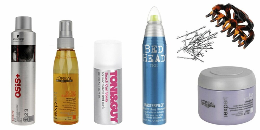FRA VENSTRE: Osis Elastic Fix Flexible Hold Hairspray (kr 139), L'Oréal Professionnel Solar Sublime Advanced Protection Conditioning (kr 139), Tony & Guy Beach Curl Spray (kr 132), Tigi Bed Head Masterpiece Hairspray (kr 149), hårlus fra H&M (kr 19,50), hårklype fra H&M (kr 19,50), L'Oréal Professionnel Expert Serie Liss Ultime Mask (kr 159).