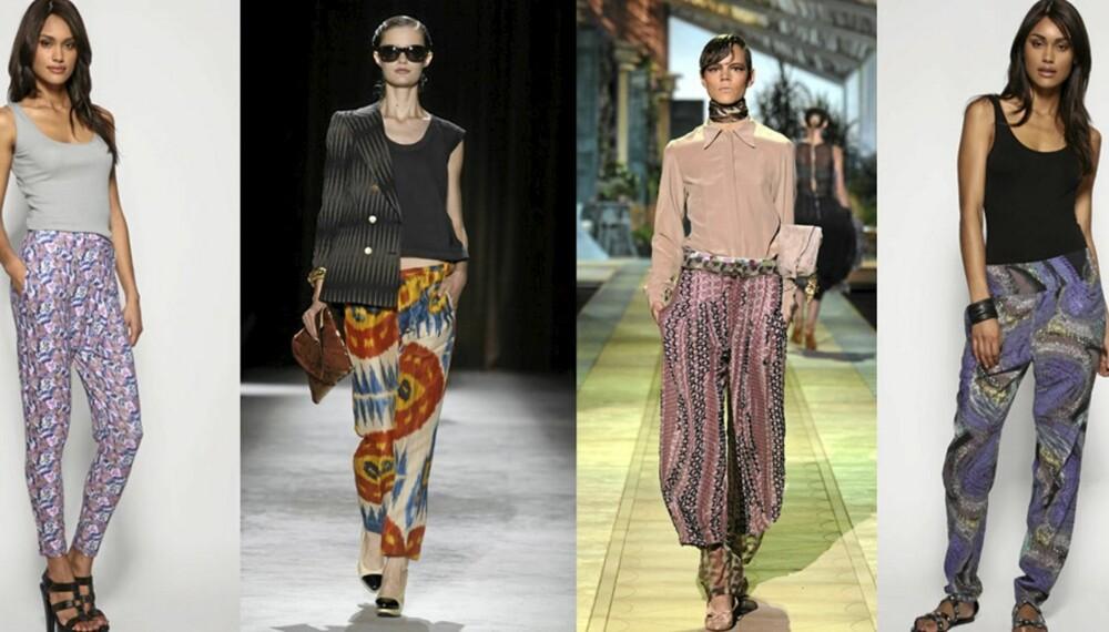 FARGERIKT: Fra catwalkvisningene til Dries Van Noten og Roberto Cavalli. Blomstrete bukse til venstre (kr 195), og lilla bukse til høyre (kr 292), begge fra Asos.com.