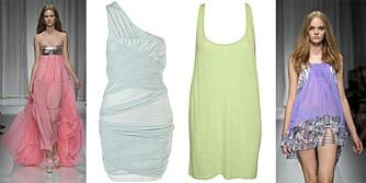 FRA VENSTRE: Versace s/s 2010, kjole fra Topshop (kr 435), singlet fra Serious Sally (kr 99), Versace s/s 2010.