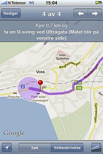Google map - som blant annet ligger på iPhone - bruker internettet når du navigerer. Det kan bli rådyrt!