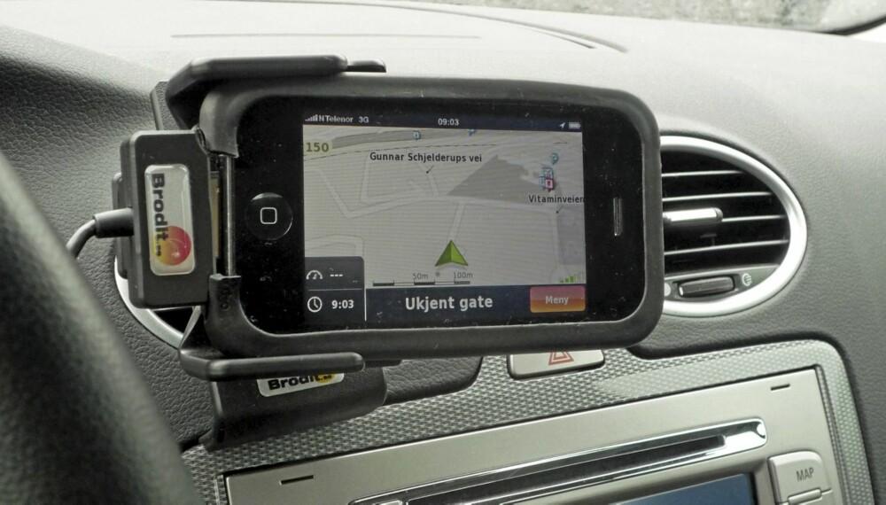 NDrive-navigasjon på iPhone.