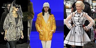 REGNVÆRSFIN: Ingen problem å være trendy selv i regnvær. Rihanna i en leopardmønstret regnfrakk, gul regnjakk fra Lacoste, og Christina Aguilera i gjennomsiktig kåpe.