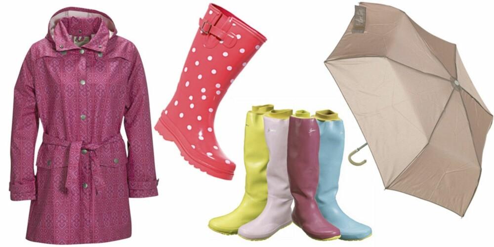 FRA VENSTRE: Rosa regnfrakk fra Ellos (kr 239,50), rosa støvler med hvite prikker fra Cath Kidston (kr 361), støvler med vrangbord i ulike farger fra Ellos (kr 1099), paraply fra Topshop (kr 95,50).