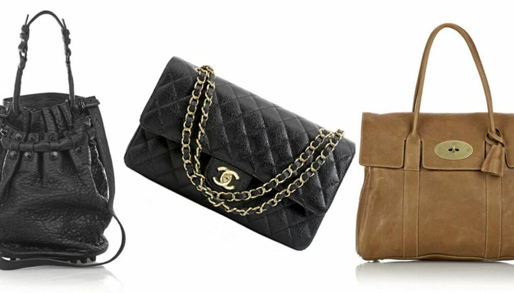 596bbf2c DESIGNERVESKER: Fra venstre: Alexander Wang Diego Bucket Bag, Chanel 2.55  og Mulberry Bayswater