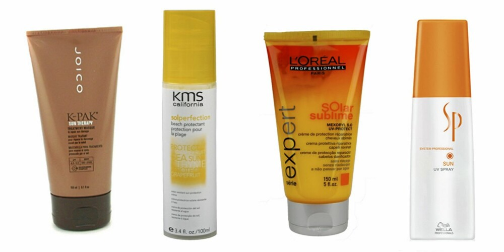 Fra venstre: Joico K-pak Sun Therapy (kr 147), KMS California Sol Perfection Beach Protectant (kr 154), Loreal Professionnel Solar Sublime UV-Protect (kr 139) og Wella System Professional Sun UV-Spray (kr 249).