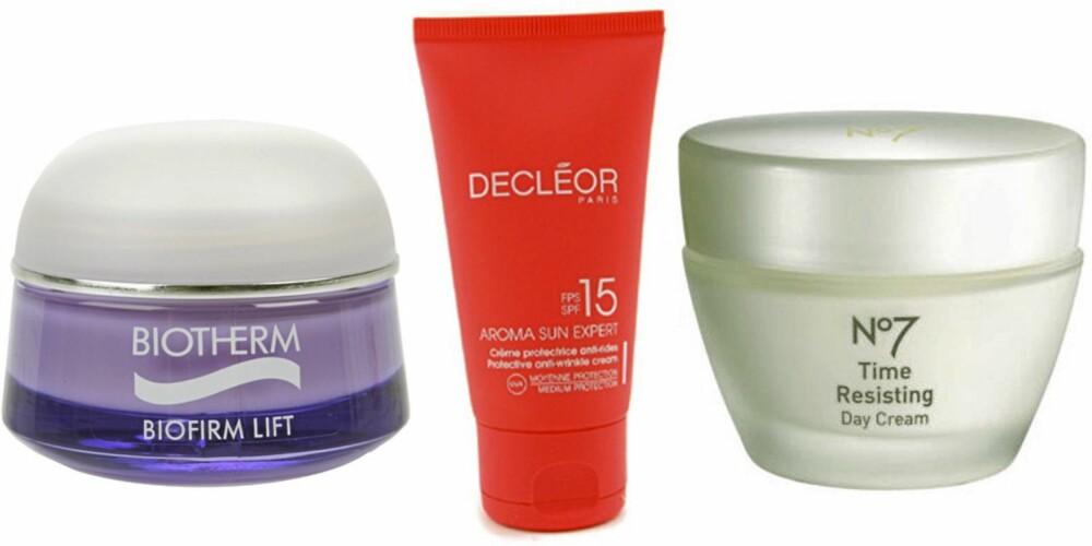 FRA VENSTRE: Biotherm Biofirm Lift (kr 489), Decleor Aroma Sun Expert Protective Anti Wrinkle Cream SPF 14 (kr 246) og NO7 Time Resisting Day Cream (kr 239).