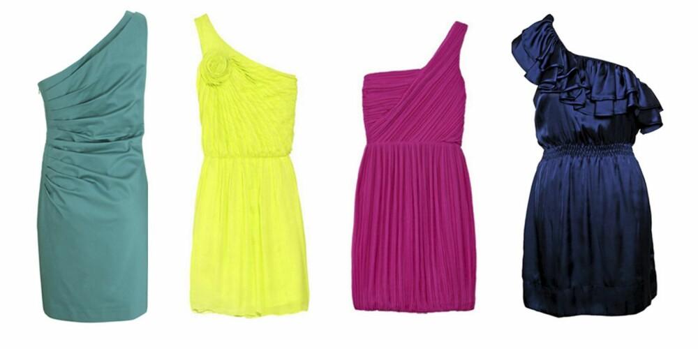 FRA VENSTRE: Sjøgrønn kjole fra Warehouse (kr 571), neongul minikjole fra Halston Heritage (kr 4084), rosa kjoel fra Theory (kr 3773), blå feskjole fra Jeane Blush (kr 349).
