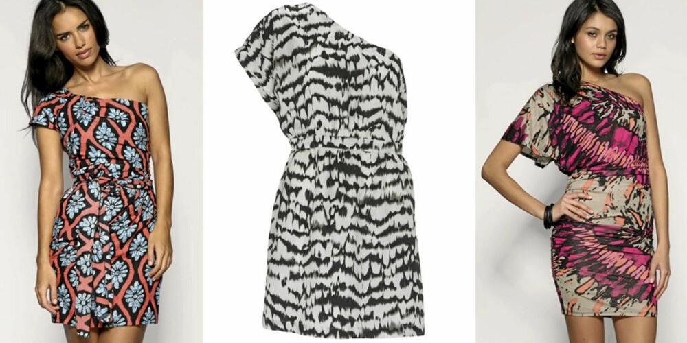 FRA VENSTRE: Blomstrete kjole fra Asos (kr 287), zebraprint fra Warehouse (kr 523), kjole med abstrakt mønster fra Asos (kr 383).