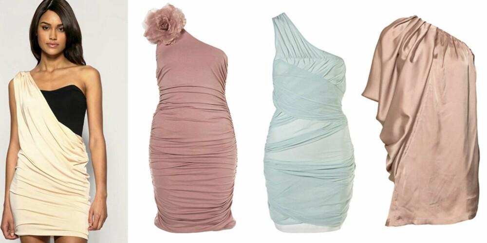 FRA VENSTRE: Drapert kjole fra Asos (kr 478), rosa kjole med blomsterapplikasjon (kr 380) og pastellblå kjole  (kr 429), begge fra Topshop, drapert kjole fra Jeane Blush (kr 259).