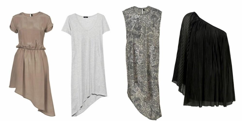 FRA VENSTRE: Kjole med asymmetrisk skjørt fra Topshop (kr 666), gråmelert lang t-skjorte fra Bassike (kr 967), assymetrisk kjole med blondeprint (kr 618) og sort tunika (kr 383), begge fra Topshop.