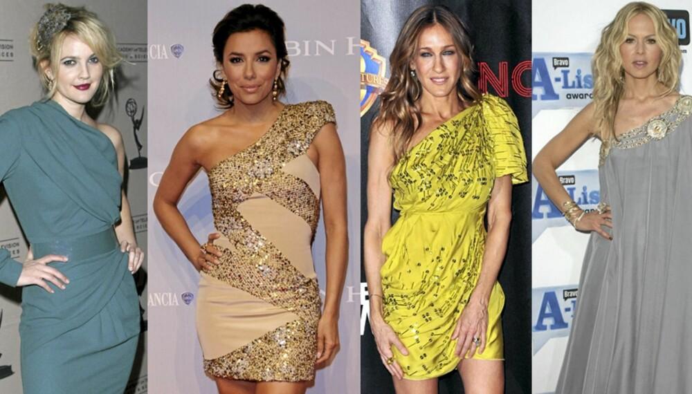 HOLLYWOODTREND: Drew Barrymore, Eva Longoria, Sarah Jessica Parker og Rachel Zoe er blant kjendisene som har lagt sin elsk på asymmetriske kjoler.