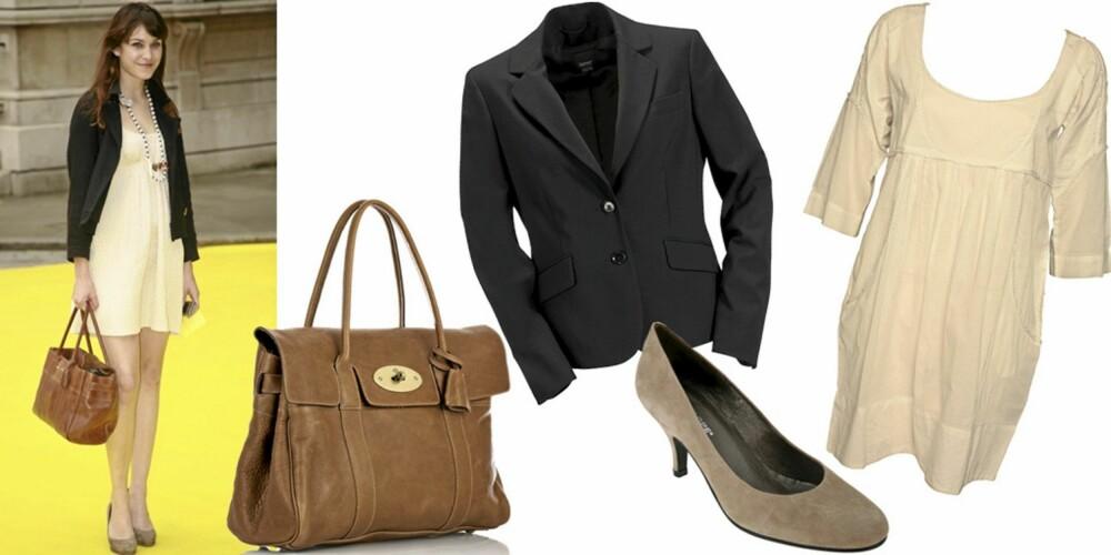FRA VENSTRE: Veske fra Mulberry (kr 5698), blazer fra Esprit Collection (kr 1199), sko fra Penelope/Lille Vinkel Sko (kr 898), kjole fra Day Birger et Mikkelsen (kr 1099).
