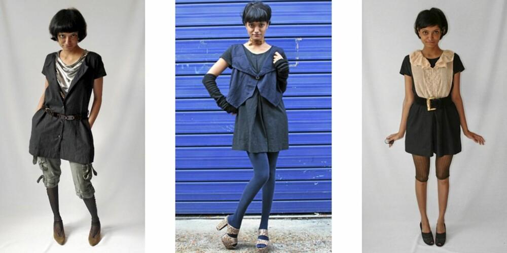 """SAMME KJOLE: Det skal ikke stå på stylingen i hvert fall. Kreativ styling og riktig bruk av tilbehør gjør at kjolen ser """"ny"""" ut hver dag."""