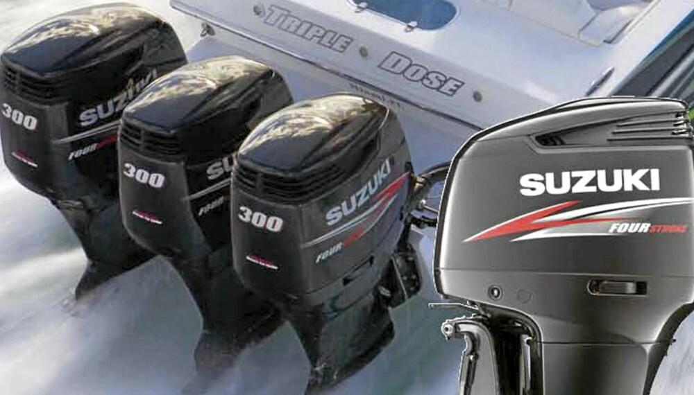 GNIERE: Suzukis nye utebordsmotorer bruker lite drivstoff kan derfor sies å være mer miljøvennlige motorer.