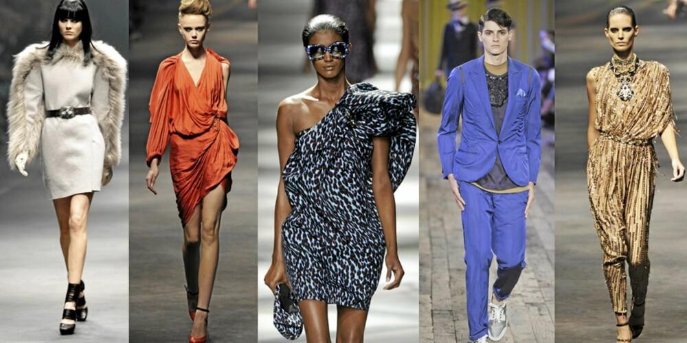 TIDLIG UTE: Lanvin har vært tidlig ute med blant annet sterke farger og metaliske stoffer. Den hvite kjolen med pelsermer kommer fra årets høst og vinterkolleksjon, kanskje det er dette vi kan forvente oss?