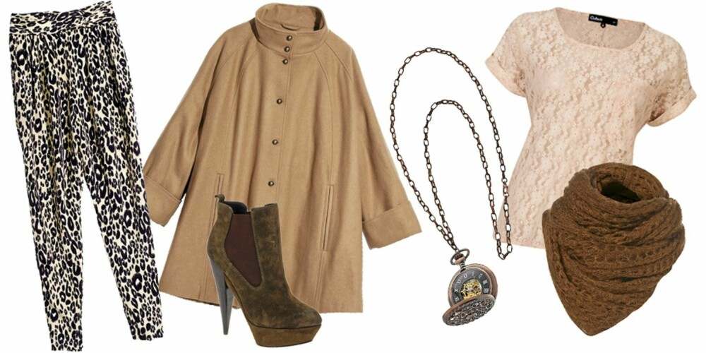 FRA VENSTRE: Bukse fra H&M (kr 399), jakke fra H&M (kr 799), sko fra Asos (kr 684), kjede fra Topshop (kr 293), T-skjorte fra Cubus (kr 179), skjerf fra Topshop (kr 156).