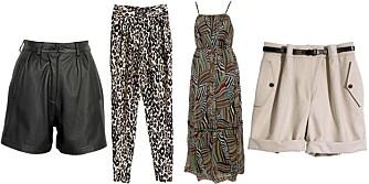 FRA VENSTRE: Shorts fra Cubus (kr 299), bukse fra H&M (kr 399), kjole fra Jeane Blush (kr 129), shorts fra H&M (kr 349).