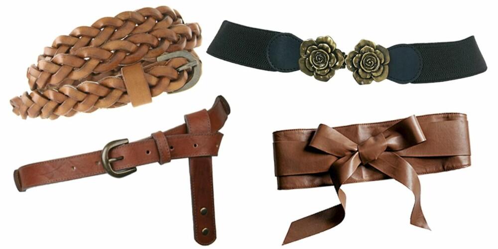 FRA VENSTRE: Pieces (kr 152), Asos (kr 171), Topshop (kr 133), H&M (kr 99).