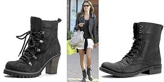 FRA VENSTRE: Bianco (kr 600), modell Alessandra Ambrosio i maskuline sko, Bianco (kr 600).