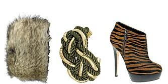 FRA VENSTRE: Hatt fra Ellos (kr 199), armbånd fra Cubus (kr 129), sko fra Asos (kr 762).