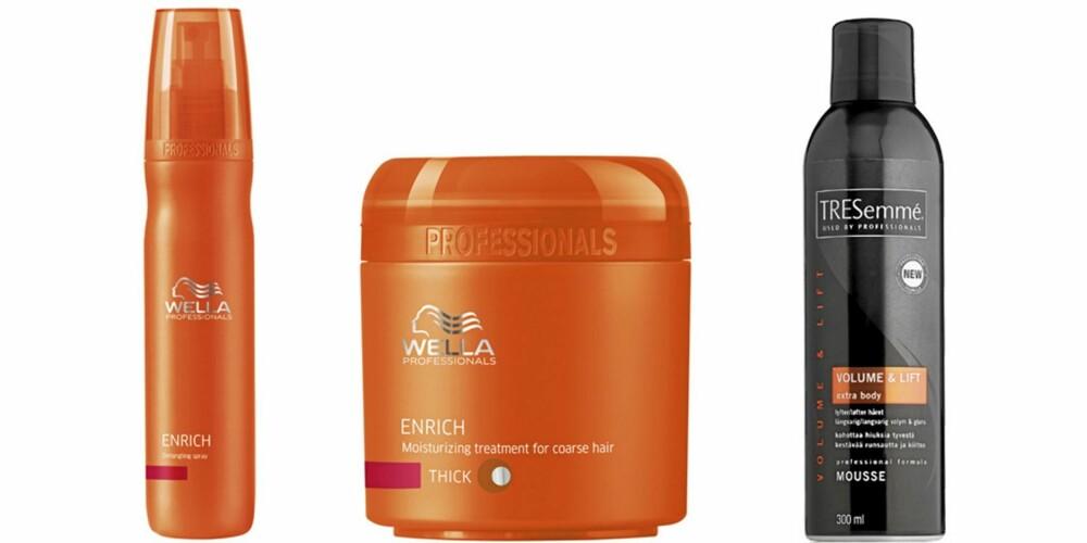 FRA VENSTRE: Wella Proffessionals Shampoo (kr 189), Wella Profesionals Mousturizing Treatment (kr 222), Tresemmé Volum Mousse (kr 99).