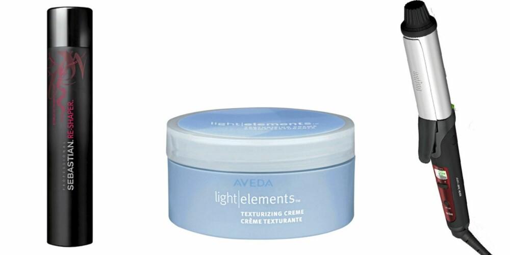 FRA VENSTRE: Sebastian Re-Shaper Hair Spray (kr 375), Aveda Light Elements Texturzing Creme (kr 425), Baum krølltang.